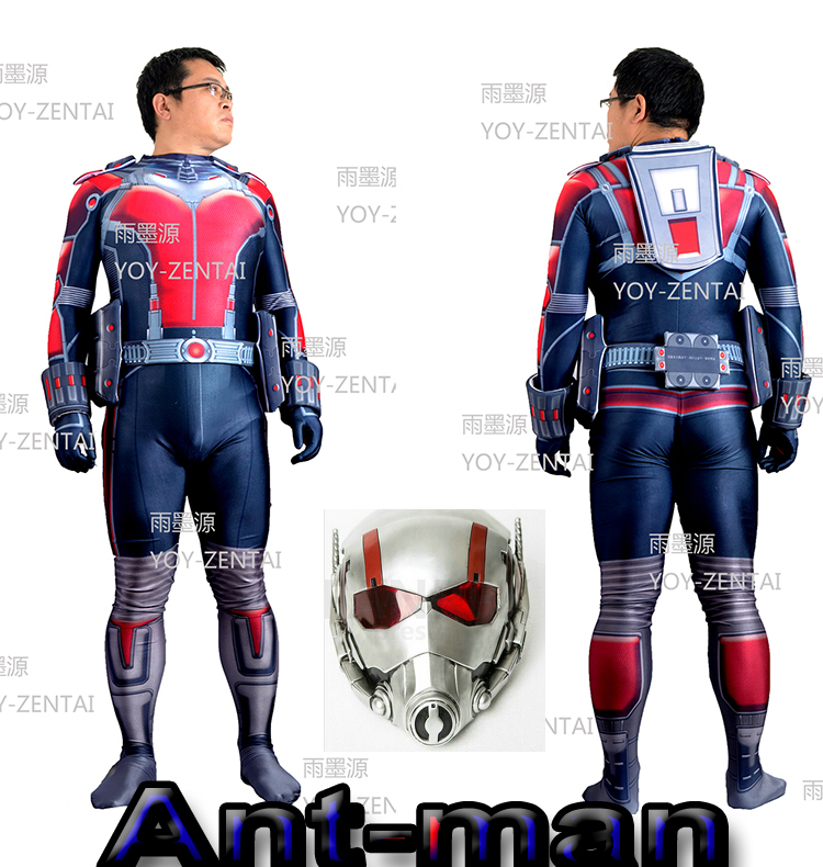 Movie Coser-5 High Quality Custom Made Super Hero Ant-Man Adult Cosplay Costume Suit Cosplay Costume Set