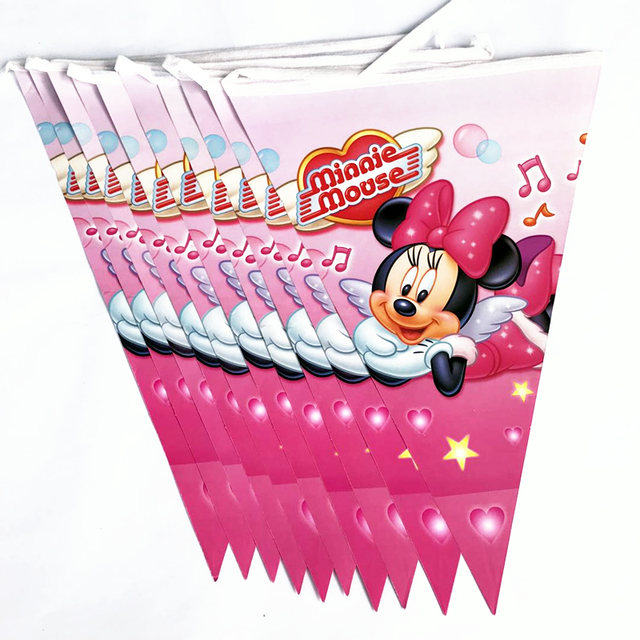 10pcs Minnie Mouse Multicolor Banner Pennant Flags Decorations 2nd Birthday Party Wedding Baby Shower