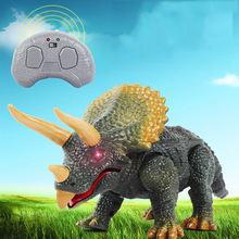 цена на Children Simulation Animal Toys New Design Walking Remote Control Dinosaur Triceratops Toy Gift Model Light Sound Action Figure