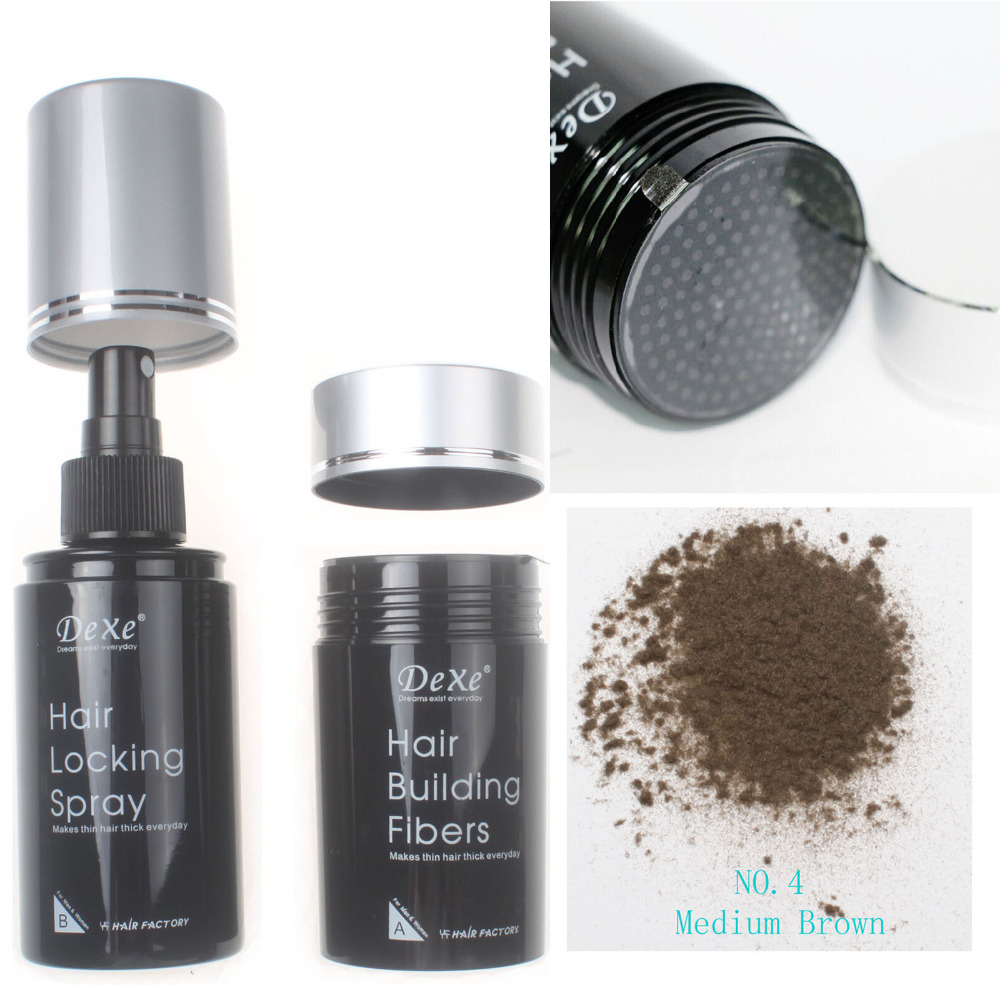Dexe Hair Building Fibers 22g & Hair Locking Spray 100ml Set Medium Brown Color