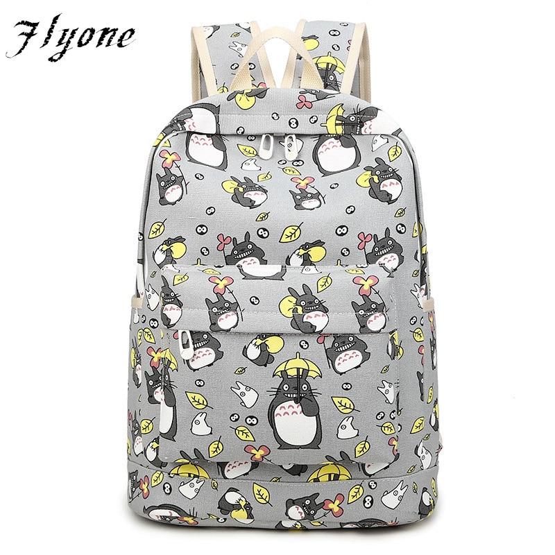 Flyone Women Totoro Backpack girls backpacks 3D printing travel softback women mochila School space backpack notebook FY090