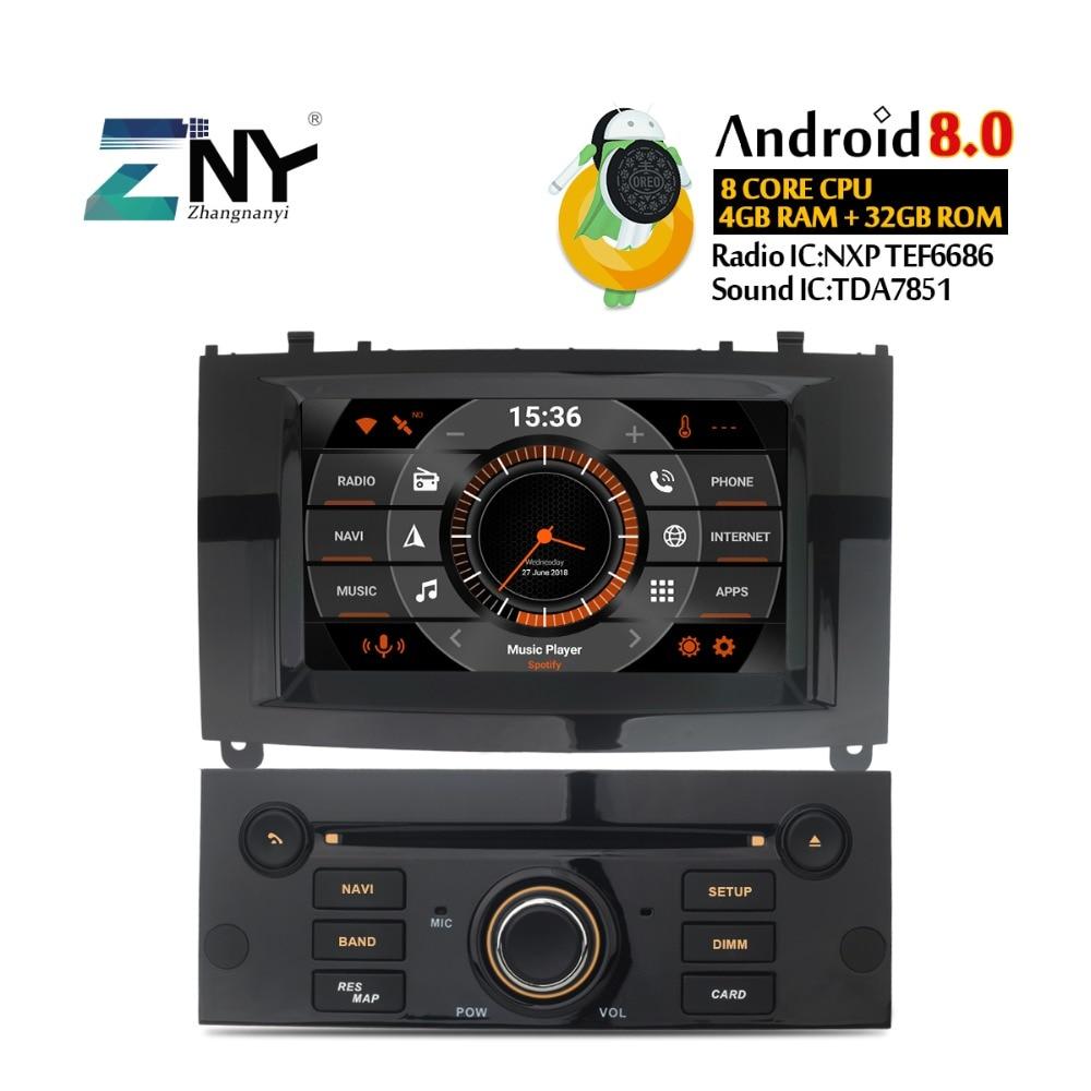 7 IPS Affichage Android 8.0 DVD De Voiture Pour Peugeot 407 2004-2010 Auto Radio FM Stéréo GPS de Navigation audio Vidéo De Sauvegarde Gratuit Caméra