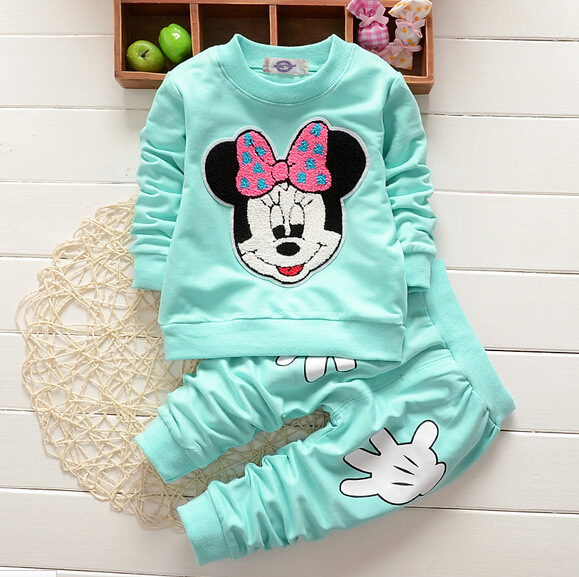 Adorable Cartoon Toddler Autumn Winter 2017 New Cotton Long Sleeve Top T Shirts + Pants Baby Girs Autumn Winter Clothes cotton cartoon t shirts