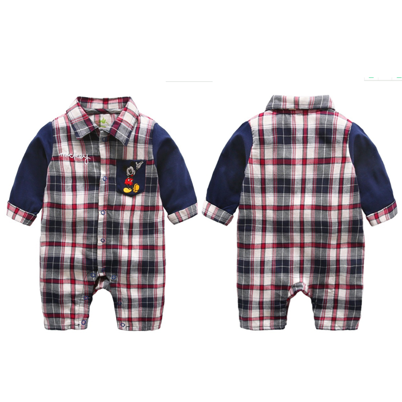 13ec8997f0b84 Disney 2017 Newborn Baby Rompers Cartoon Cute Long Rompers Cotton Mickey  Minnie Mouse Jumpsuit Male Boy Plaid Patchwork Clothes-in Rompers from  Mother ...