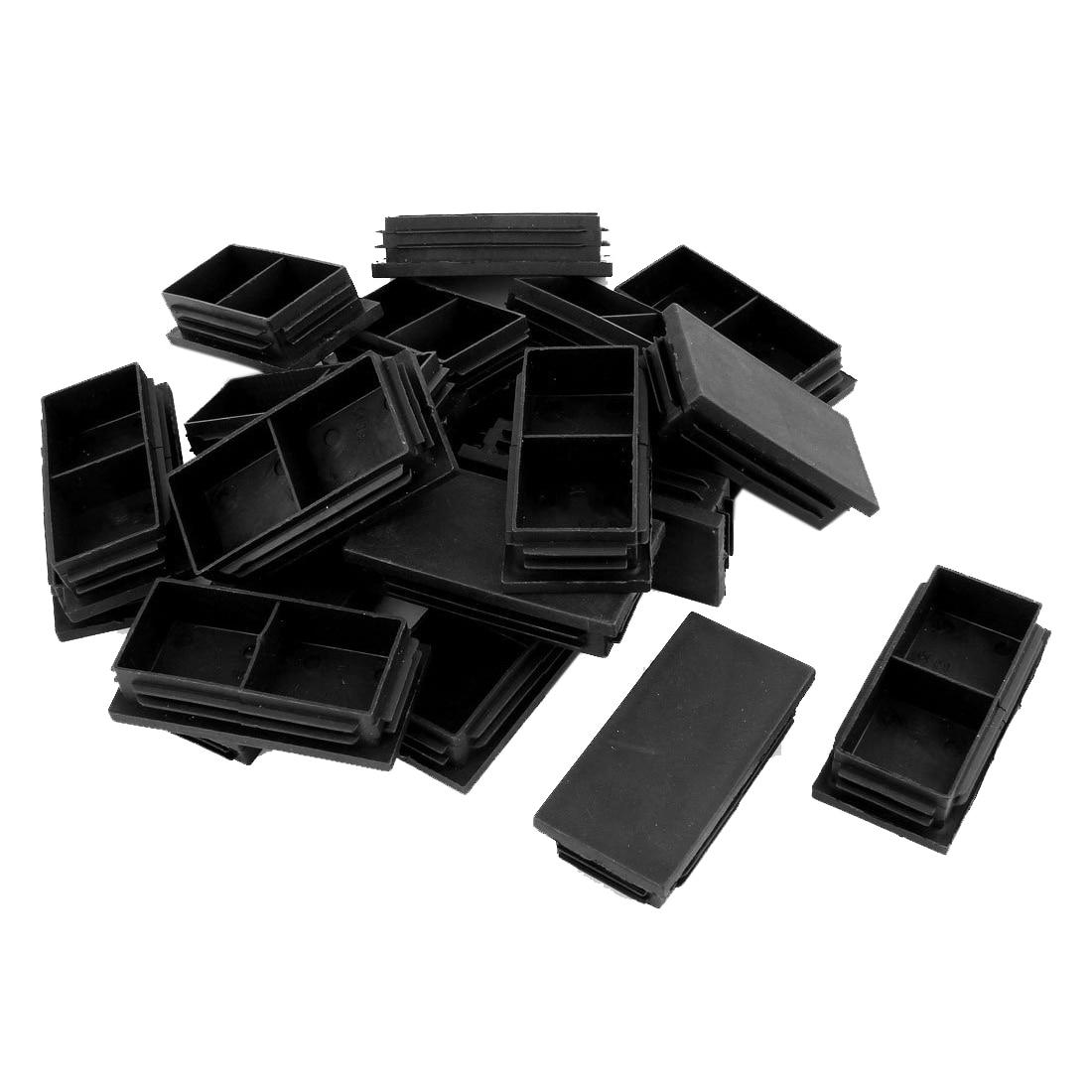 Hot Sale Plastic Rectangle Blanking End Caps Bung 40mm X 80mm 20Pcs Black