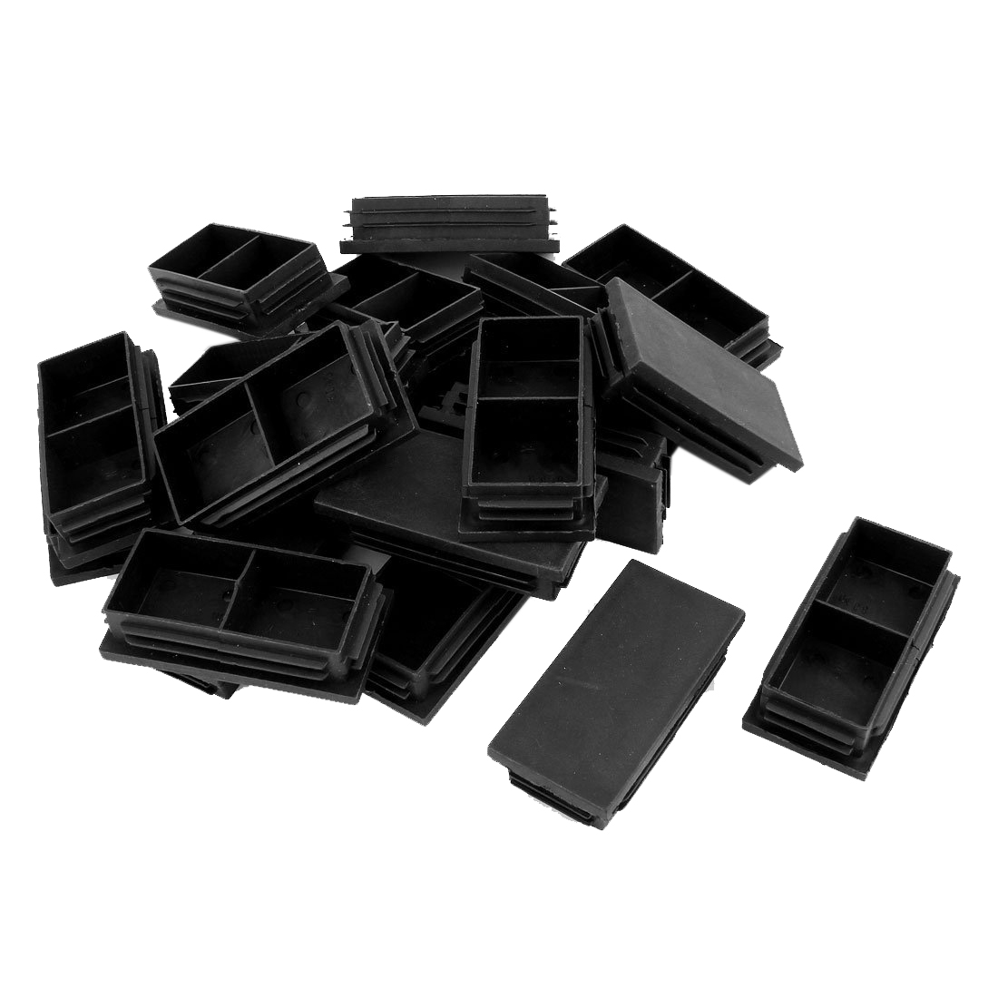 Hot Sale Plastic Rectangle Blanking End Caps Bung 40mm X 80mm 20Pcs Black