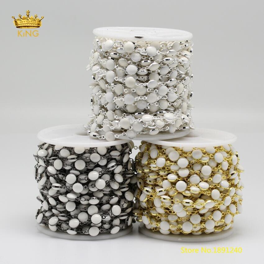 5 metros/lote 6mm Branco Lampwork de Vidro Flat Round Coin Shaped Chains Banhado A Prata/Ouro/Preto Arma DIY contas Correntes Achados ZJ143