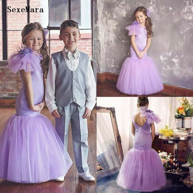 Lilac Mermaid Flower Girls Dresses For Wedding Hand Made Flowers Satin Tulle Birthday Dress Girls Gowns for Special OccasionLilac Mermaid Flower Girls Dresses For Wedding Hand Made Flowers Satin Tulle Birthday Dress Girls Gowns for Special Occasion