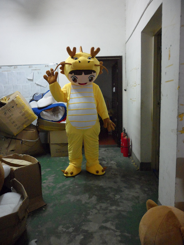 2017 New Mascot Costumes For Adults Christmas Halloween Outfit Fancy Dress Suit Free Shipping Yellow Dragon Dinosaur
