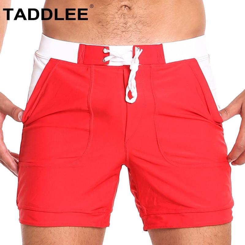 Taddlee Brand Sexy Swimwear Men Swimsuits Solid Basic Long   Board     Shorts   Trunks Boxer Briefs Bikini Quick Drying Pocket XXL Size