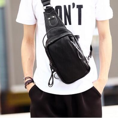 Lightweight PU Leather Men Waist Bag Riding Shoulder Bag Three Colors Fashion Chest Bag Male Belt Pouch