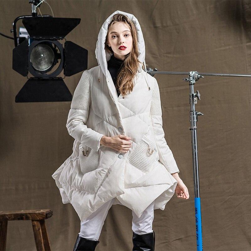 Dowm Noir Moyen Manteau Blanc Doudoune Mince Et Femmes Bas Parka Veste long Lâche Femelle Vers Le T6nwqU