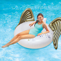 110cm Giant Angel Wings Inflatable Pool Float White Gold Air Mattress Lounger Water Party Toy Ride on Flying Wings Swimming Ring