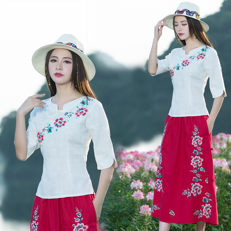 KYQIAO Traditional Chinese clothing M-3XL ethnic stand collar rose red blue white embroidery blouse shirt online Chinese store