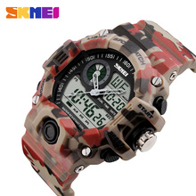 SKMEI Outdoor Sports Watches Men Dual Display Wristwatches 50M Waterproof Chronograph Shock Resistant Wristwatch 1029 skmei 50m waterproof three movement men s electronic watches black mirror silver