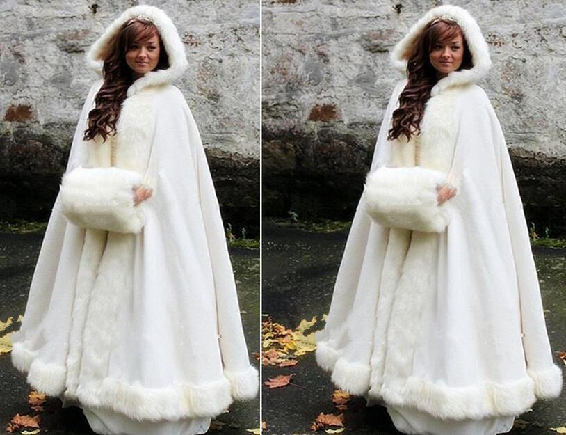 Long Bridal Cloak Faux Fur Shawl White/ Ivory Cloak Winter Hooded Wedding Cape
