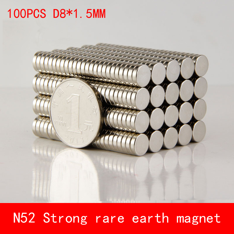 50 x N50 Strong Small Disc Magnets 8 x 1.5 mm Round Rare Earth Neodymium Magnet