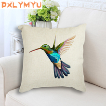 Watercolor Bird Tree Leaves Animals Seat Cushion Nordic Cotton Linen Throw Pillow Decorative Cushion Sofa Pillow 45x45 cm цены