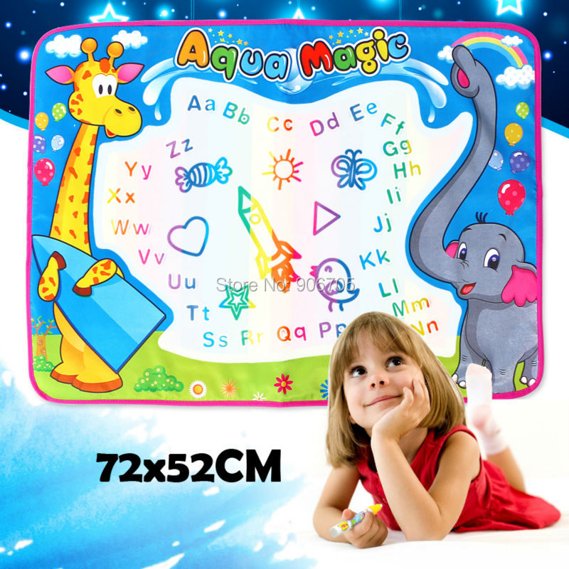 72x52cm Air Drawing Lukisan Menulis Mainan Doodle aqua papan lukisan magnetik Main Mat Magic Pen dengan alat Lukisan Model 8Pcs