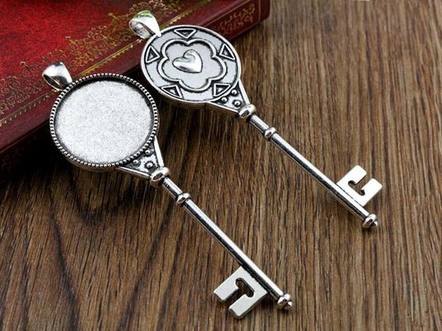 New Fashion 3pcs 25mm Inner Size Antique Silver Heart Key Style Cabochon Base Setting Charms Pendant (A6-21)