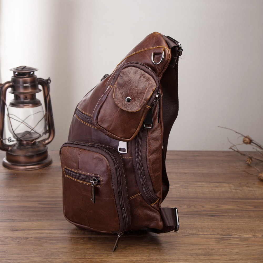 Genuine Leather Men Casual Fashion Travel Triangle Chest Sling Bag Coffee Design 8