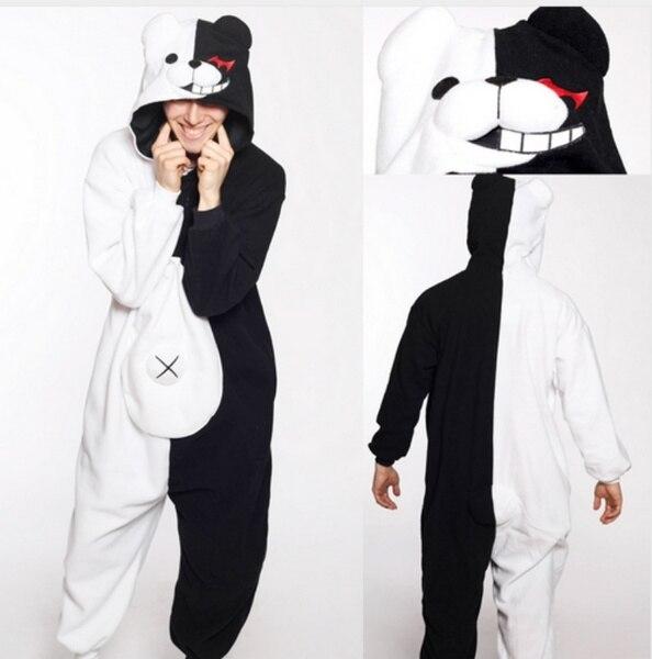 Hot Anime Danganronpa Monokuma Cosplay Pajama Adult Unisex Onesie Kumamon Monokuma Gloomy Bear Sleepwear Pyjamas