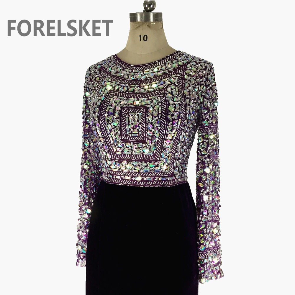 Beading Crystal Jersey Mermaid Prom Dresses Long Sleeves 2020 Purple Sequined Formal Evening Party Gowns Robe De Soiree Longue