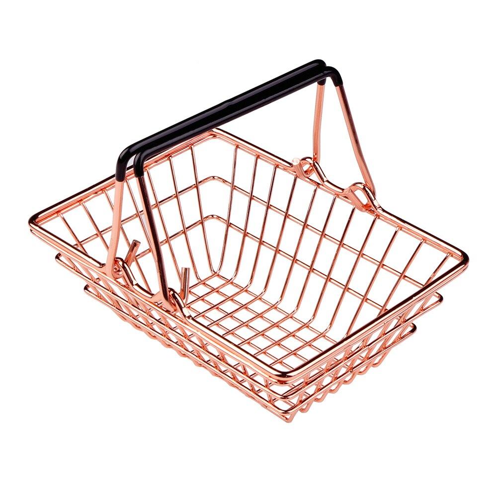 6eb1f161c New Mini Metal Rose Gold Storage Basket Vogue Chic Nordic Elegant Shopping  Cart Style Candy Storage Basket Desk Debris Organizer