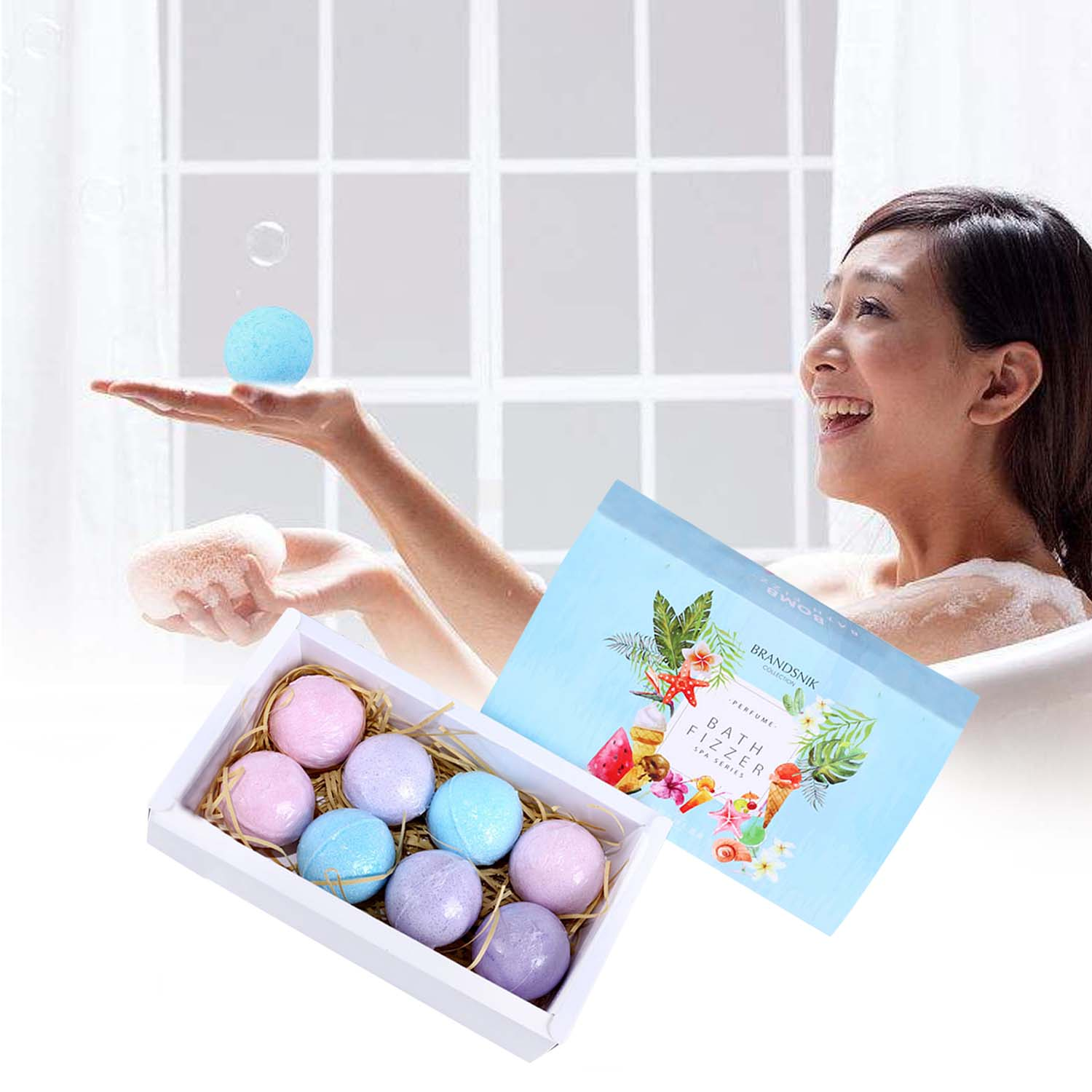 Behogar 8pcs Natural Spa Bath Bombs Ball Set with 3 Different Fragrance for Girl