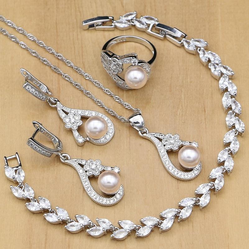Pink Pearl Beads 925 Silver Jewelry Sets For Women Wedding Earrings/Pendant/Rings/Zircon Stone Bracelet/Necklace Set