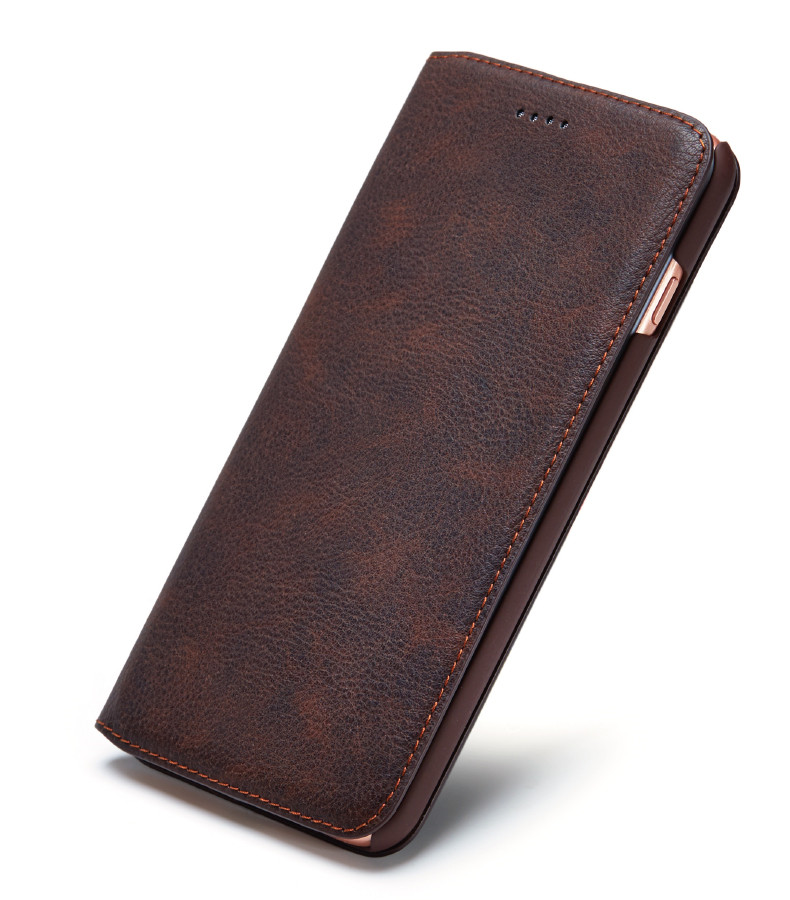 imágenes para Cuero genuino clásico pu case para apple iphone 6 6 s plus 7 7 más case con ranura para tarjetas cubierta del imán para el iphone 6 6 s 7 plus