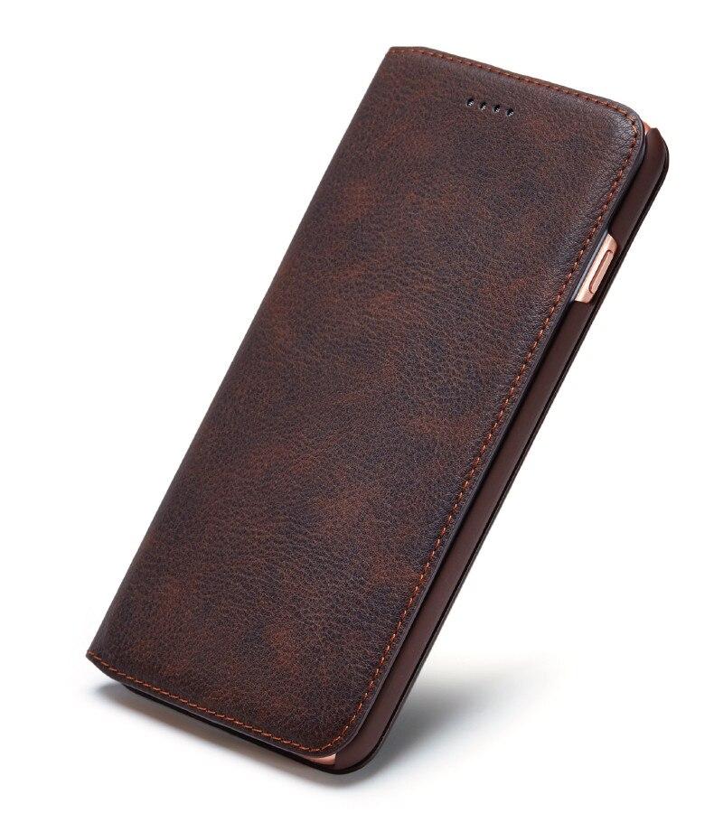 bilder für Klassische echtes pu leder case für apple iphone 6 6 s plus 7 7 plus case mit einbauschlitz magnet abdeckung für iphone 6 6 s 7 plus