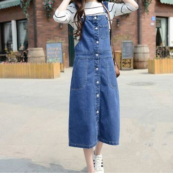 Suspender Jeans Skirts 2017 Plus Size 7XL Bib Overalls Denim Skirts for Women Casual High Waist Button Front Skirts G090501 plus size women in overalls