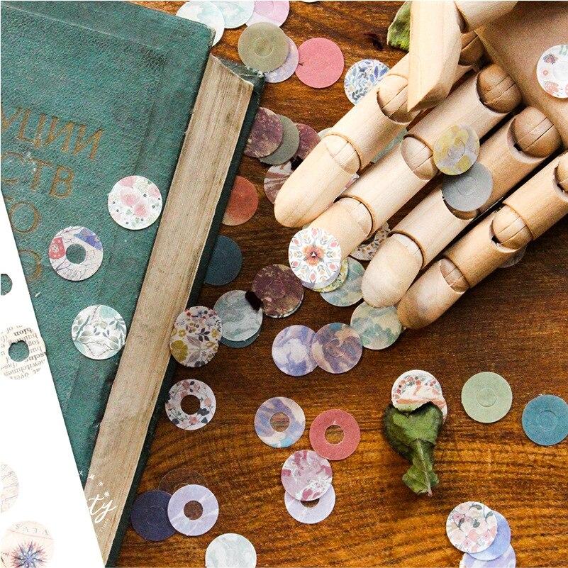 Japanese Retro Round Protect Sticker Bullet Journals Accessories Holes Loose-leaf Notebook Paper Reinforcement DIY Sticker 60pcs
