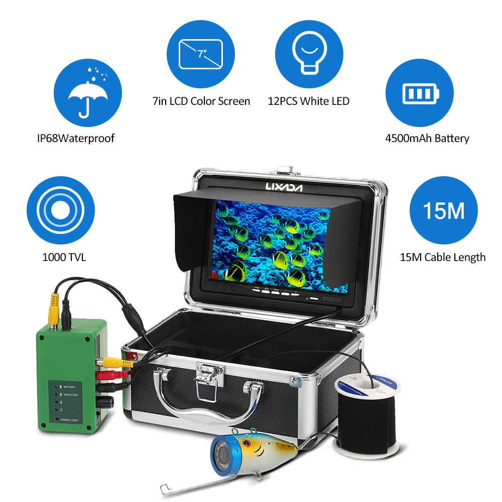 Lixada Underwater Fish Finder Professional Fishing Camera 12pcs LED 1000TVL Camera 7inch Screen Underwater Camera  Ice Fishing