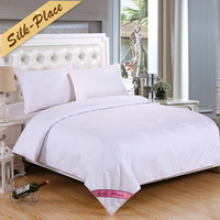SILK PLACE White Mulberry Silk Comforter Bedspreads Quilted Blanket Summer&Winter King Queen Full Twin Size Duvet Bedclothes Set