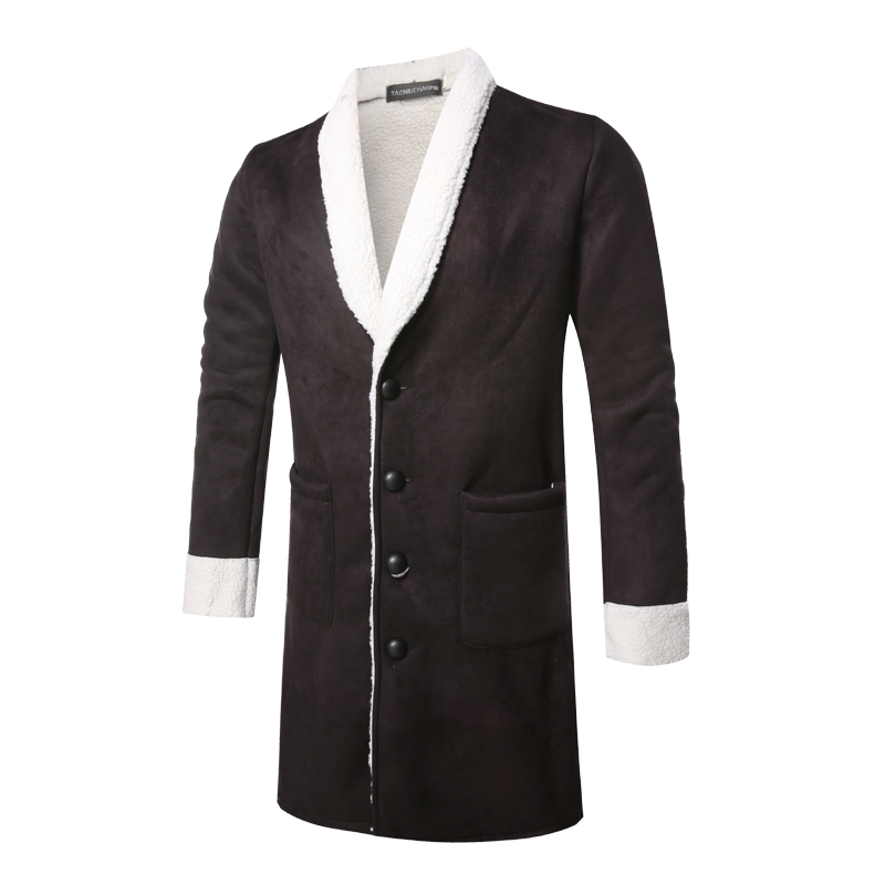 Men   Trench   Coat 2018 Winter New Male Fashion Slim Fit Mens Overcoat Thick Warm Fur Velvet Black Long Men Jacket M-XL