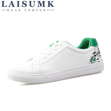 2019 LAISUMK Woman PU Leather Platform Loafers Embroider Sneakers Autumn Lace-Up Flats Casual Flowers Women Unisex Lovers Shoes
