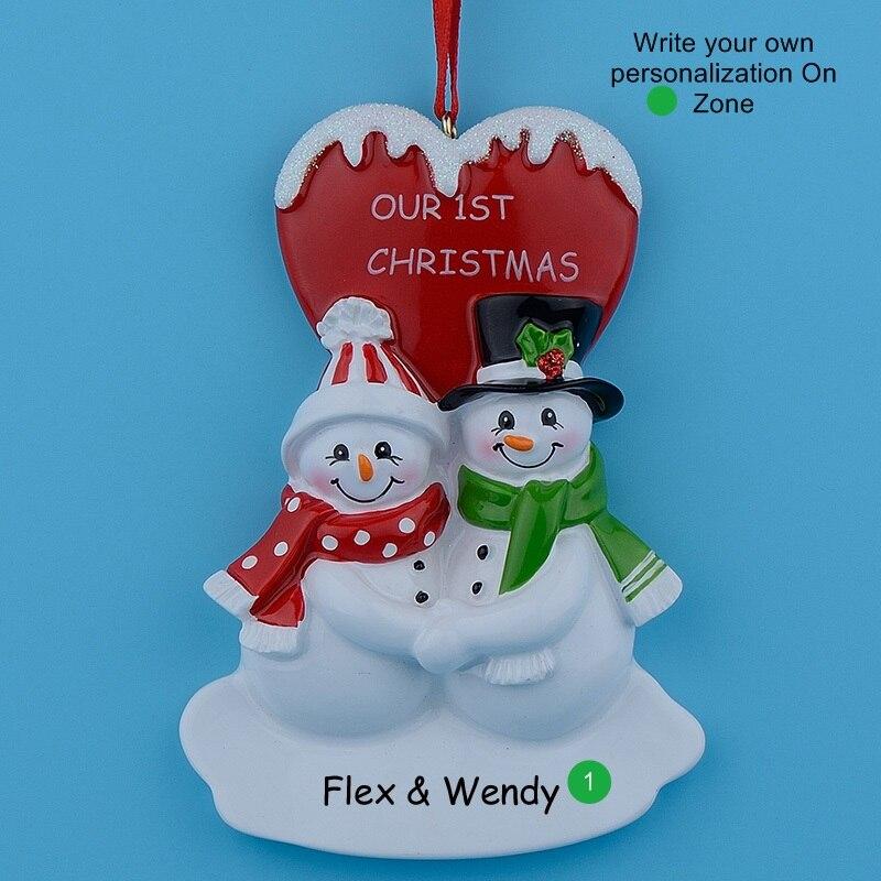 Christmas Couple Snowman Resin Glossy Hang