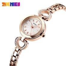 SKMEI New Fashion Quartz Watch Women Luxury Brand Stainless Steel Bracelet Watches Ladies Rhinestone Dress Watches Female Clock