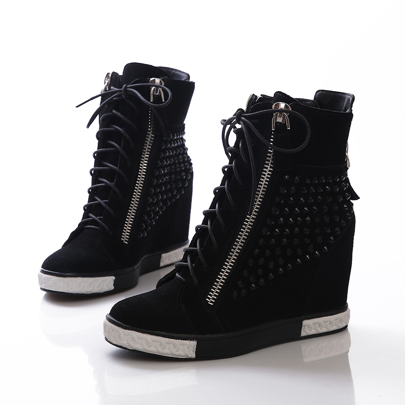 02a48ab5324c Women Boots Wedge Concealed Heel High Top Platform Sneakers Ankle Boots  Lace Up Shoes High Heel Sneakers -in Men s Casual Shoes from Shoes on  Aliexpress.com ...