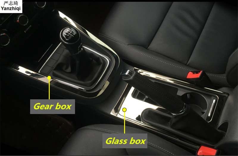 Free Shipping Stainless Steel Frame Glass Sequins Console Gear Box Sequins Car Stickers For 2012-2018 Volkswagen VW JETTA 6 MK6