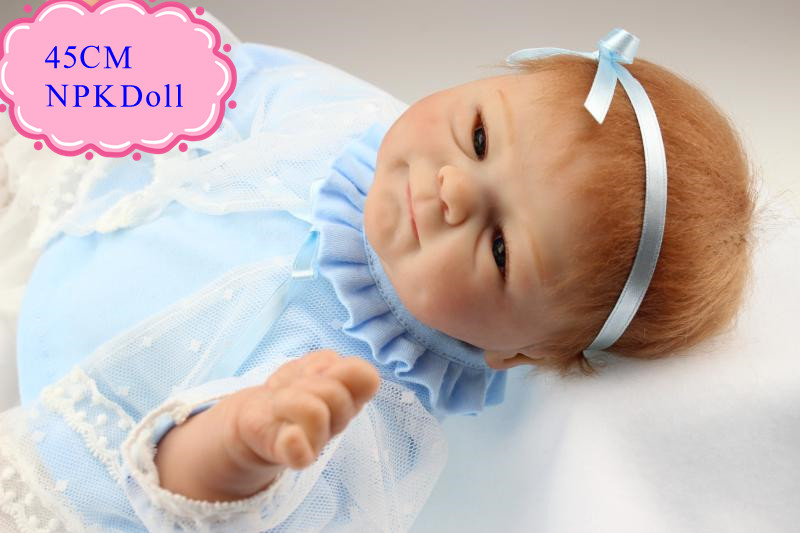 Good Price 45cm 18inch Reborn Baby Girl Doll With Light Blue Race Dress Fashion Brinquedo De Bebe For Kids As Christmas Doll Toy healthy mini manual juicer with good price