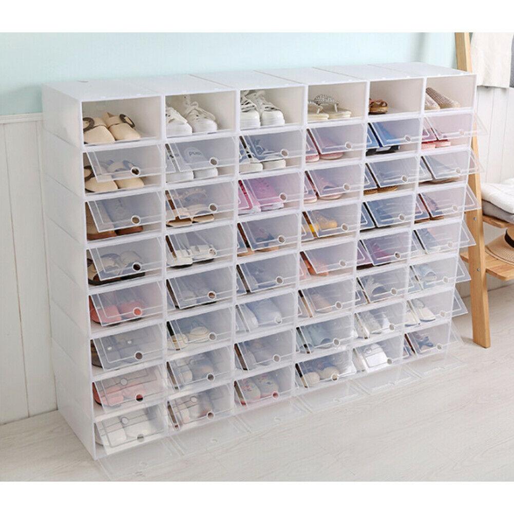 20 x PLASTIC LADIES SHOE BOX STORAGE STACKABLE CLEAR BOX DRAWER TRANSPARENT  UNIT