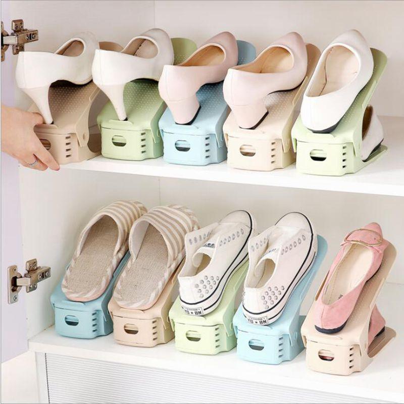 Estante de almacenamiento de plástico de Color caramelo estante de zapato duradero ajustable organizador doble capa soporte de zapato para sala de estar