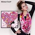 Maisun 90x90 см 100% шелк пашмины шали женщин шарфы последние уникальный дизайн хиджаб моды осень лето платок