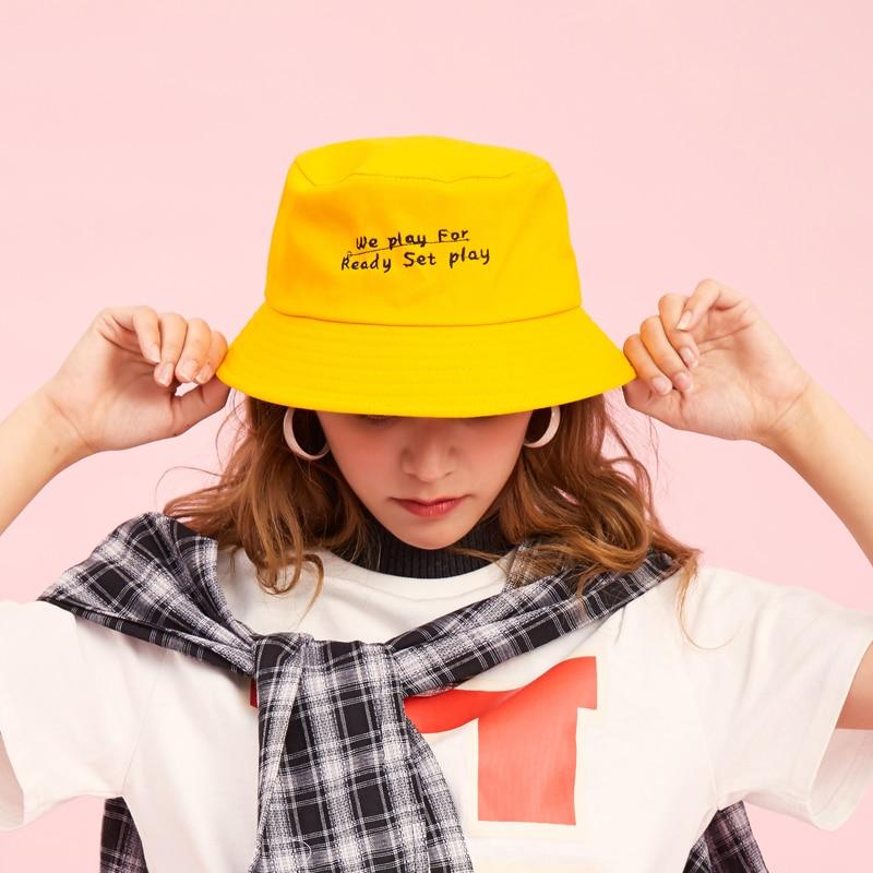 aff844eaf0b915 Panama Cute Unisex Fashion Bucket Hat Elegant Women Bob Caps Hip Hop Gorro  Men Summer Cap boys Beach Sun Yellow Bucket Hat