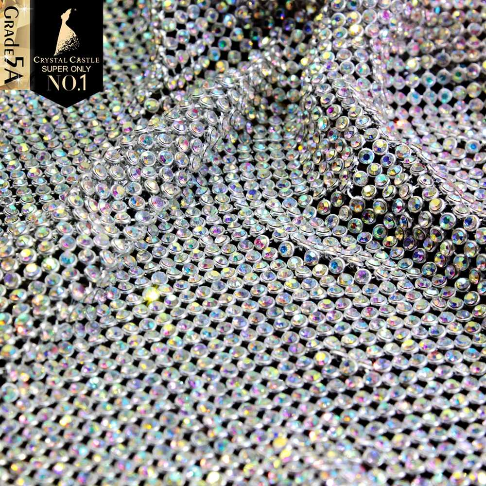 كريستال قلعة الراين للنسيج SS8.5-SS9 ستراس مع شبكة شبكة كريستال النسيج شرابة زينة غير الإصلاح الراين