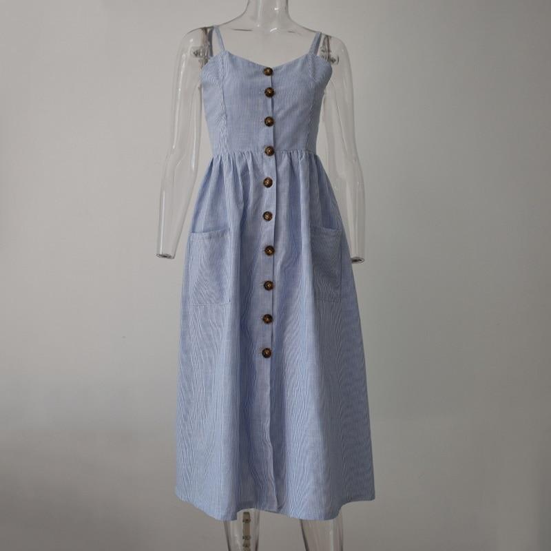 Laamei Summer Striped Button Strap Dress Long Beach Pockets Women Vestidos Boho Elegant Sexy Dess With Pocket