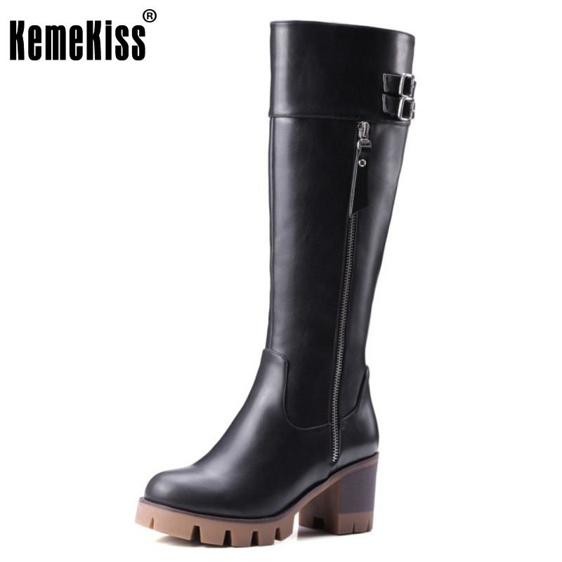 KemeKiss Knight Boots Knee High Boots For Women Gladiator Square Med Heels Round Toe Shoes Winter Autumn Shoes Woman Size 32-42 enmayla retro winter high heels ankle boots women nubuck charms shoes woman sexy red boots med heels square toe boots size 34 43